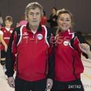 Minivolley: Pallavolo Novaggio / Bedigliora. Nella foto l'allenatrice Daria Petronio e il Presidente Severo Mattinelli.